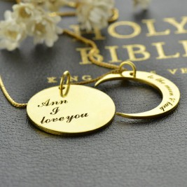 I Love You to The Moon and Back Love Necklace 18ct Gold Plated
