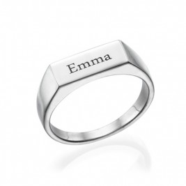 Engraved Signet Ring in Sterling Silver