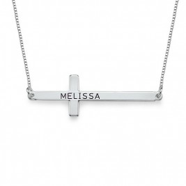 Engraved Silver Sideways Cross Necklace