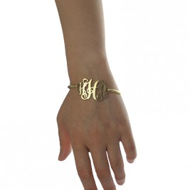 18ct Gold Plated Monogram Initial Bracelet 1.25 Inch