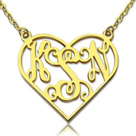 Cut Out Heart Monogram Necklace 18ct Gold Plated