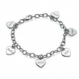 Mum Charm Bracelet/Anklet with Personalised Hearts