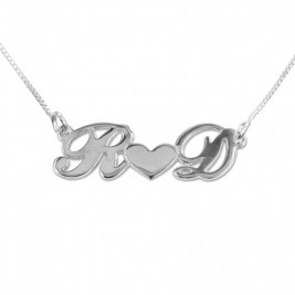 Personalised Silver Couples Heart Necklace