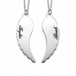 Set of Two Sterling Silver Angel Wings Necklace
