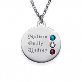 Silver Birthstone Necklace for Mum Inscriptions (1-3)