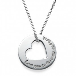Silver Engraved Necklace with Heart Cut Out