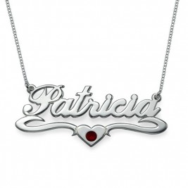 Silver and Swarovski Middle Heart Name Necklace