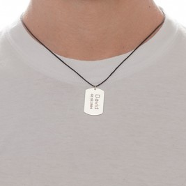 "Sterling Silver Men's ""Dog Tag"" Necklace"