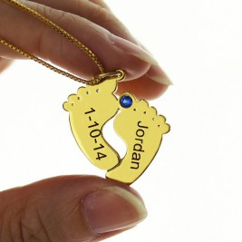 Birthstone Memory Baby Feet Charms with Date  Name 18ct Gold Plated