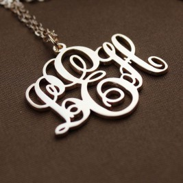 Personalised Vine Font Initial Monogram Necklace 18ct Rose Gold Plated