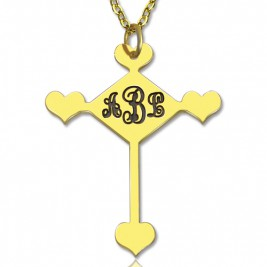 Engraved Cross Monogram Necklace 18ct Gold Plated