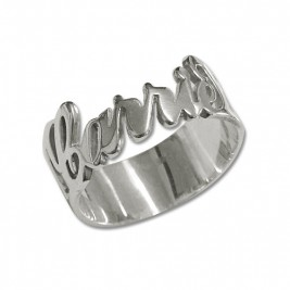 Personalised Silver Cut Out Ring