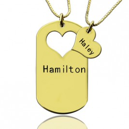 Matching Heart Couples Name Dog Tag Necklaces