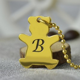 Cute Teddy Bear Initial Charm Necklace 18ct Gold Plated