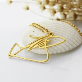 Custom Necklace with Your Own Signature 18ct Gold Plated Silver