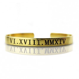 Personalised Roman Numeral Bracelet 18ct Gold Plated