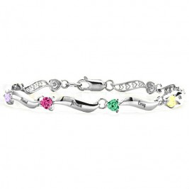 Personalised Engraved Bracelet with 1-8 Stones
