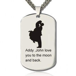Faill In Love Couple Name Dog Tag Necklace
