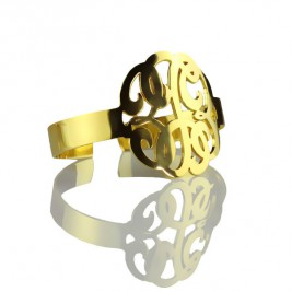 Hand Drawing Monogram Initial Bracelet 1.6 Inch Gold Plated
