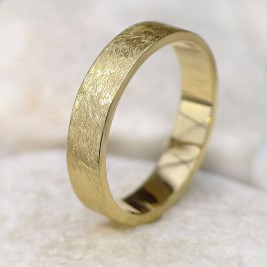 Mens Wedding Ring In 18ct Gold, Urban Finish