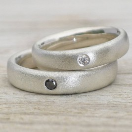 Handmade Frosted Silver Diamond Wedding Rings