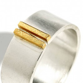 Silver And Gold Double Bar Wide Band Ring