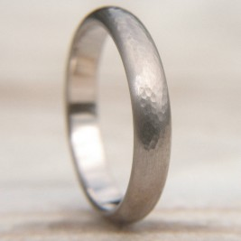 Hammered Wedding Ring In 18ct White Gold
