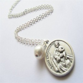 Large St Christopher Charm Necklace