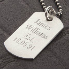 Personalised Sterling Silver Karma Dog Tag Necklace