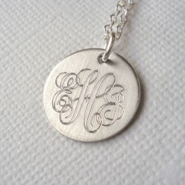 Mens Classic Sterling Silver Monogram Necklace