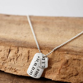 Personalised Silver Location Dog Tag Necklace