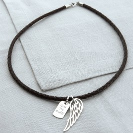 Personalised Silver Wing And Dogtag Leather Necklet