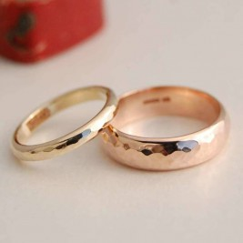Personalised Solid Gold Wedding Band Set