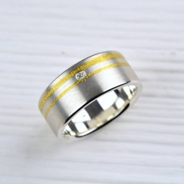 Silver And Finegold Diamond Ring