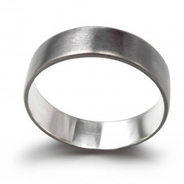 Sterling Silver Oxidized Flat Wedding Band Ring